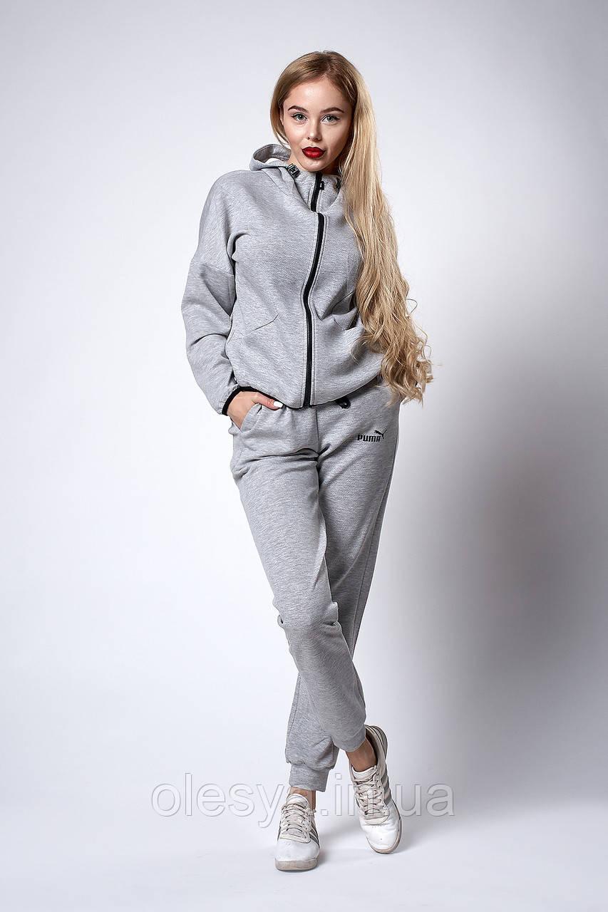 Женский спортивный трикотажный костюм. Код модели КС-19-65-18. Цвет светло серый.