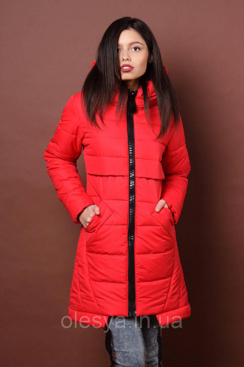 Зимняя женская молодежная куртка. Код К-80-36-19. Цвет красный.