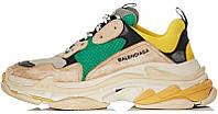 Женские кроссовки Balenciaga Triple S Green Yellow