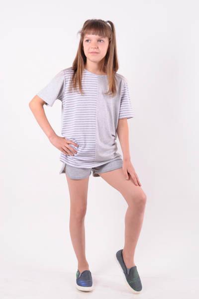 Костюм летний для девочки футболка + шорты от 6 до 10 лет 9116;122;128;134;140)