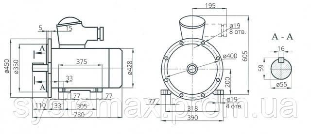 Взрывозащищенный электродвигатель АИУ 200L2 (ВАИУ 200L2)
