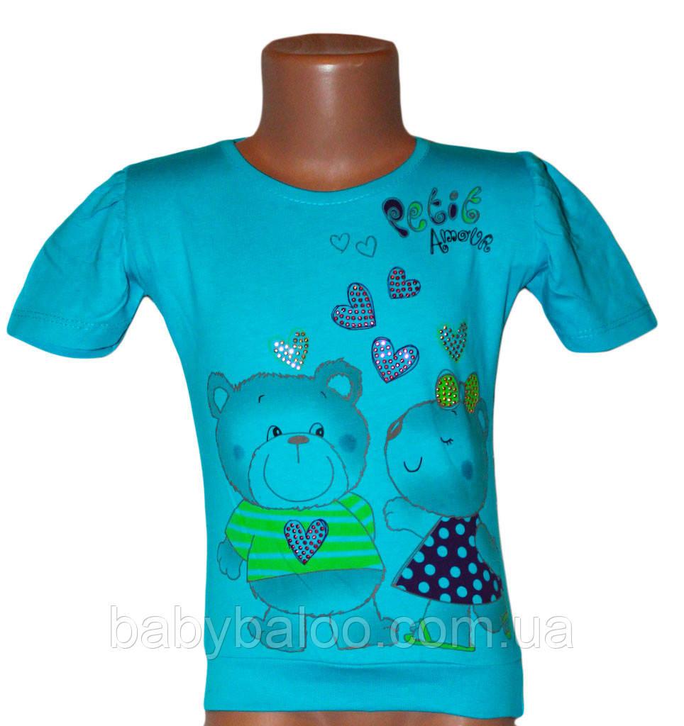 """Подростоковая футболка для девочки манжет """"Мишки камни"""" (от 5 до 8 лет)"""
