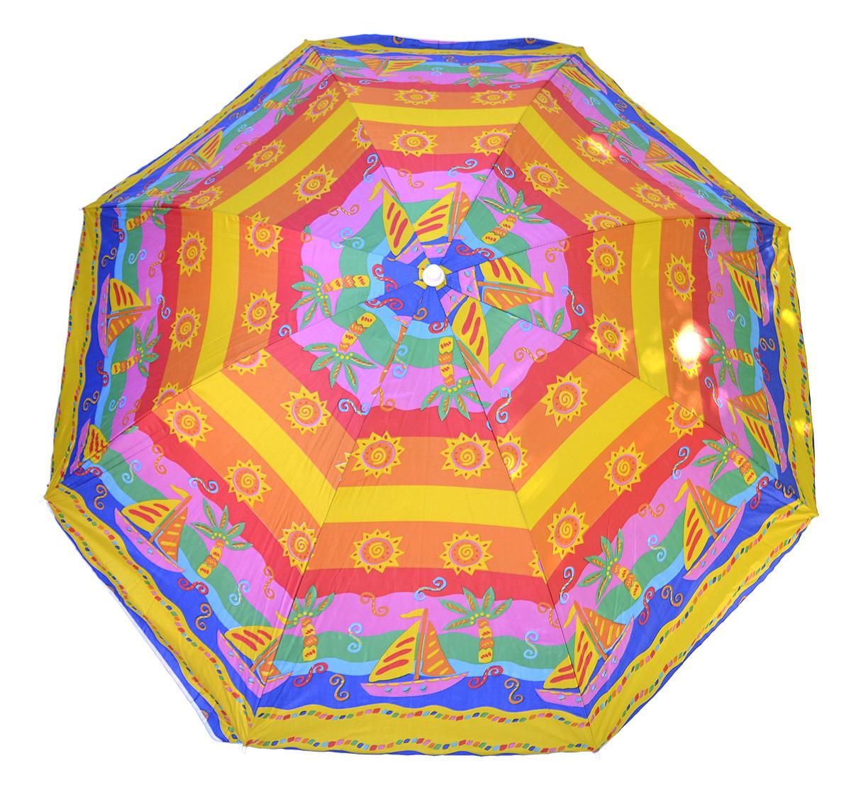 Пляжный зонт с серебристым напылением 1.8 м с наклоном Радуга