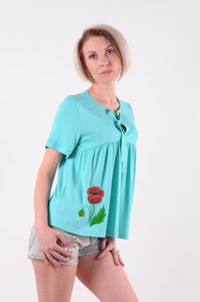 Женская футболка  на завязке бирюзовая размер 42-44