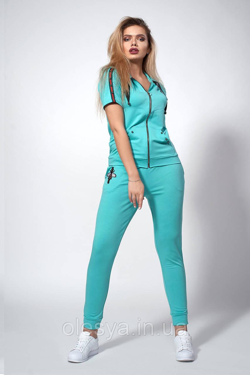 Женский трикотажный костюм. Код модели КТ-13-43-18. Цвет бирюза.