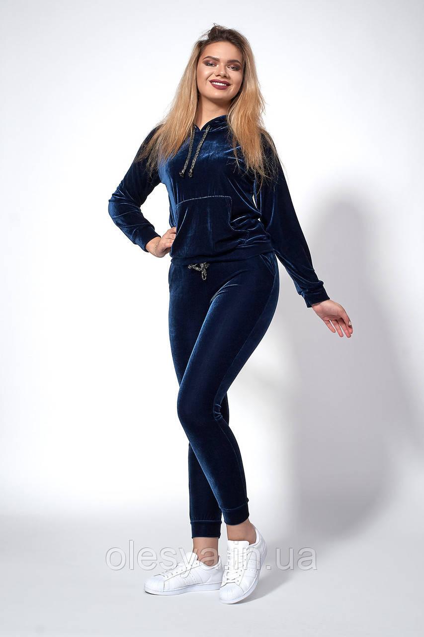 Женский велюровый костюм. Код модели КТ-16-67-18. Цвет синий.