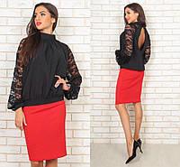 Блуза с открытой спиной в расцветках  23187