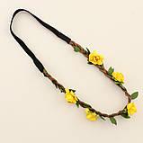 Резинка ободок на голову с желтыми цветочками, фото 2