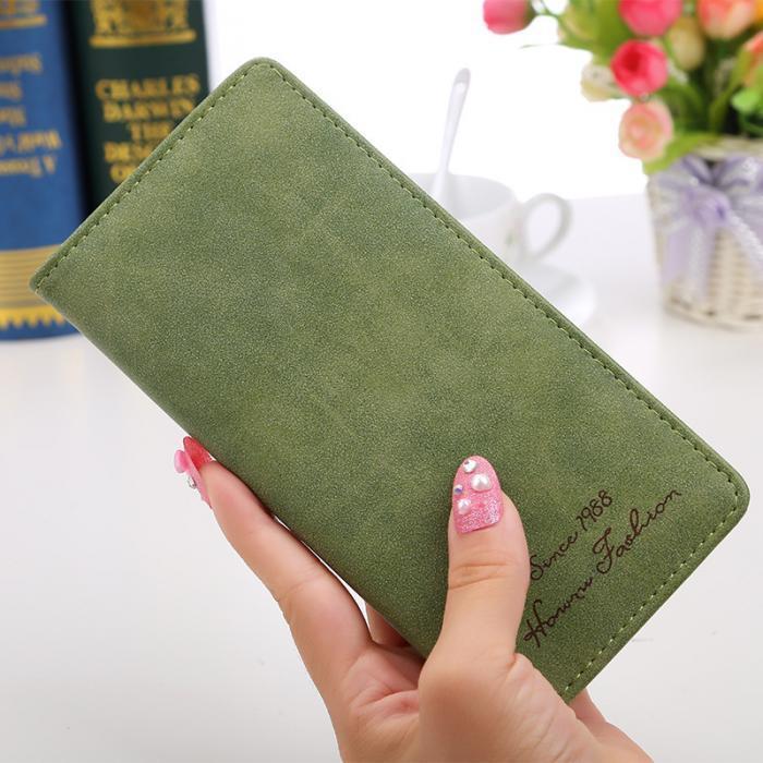 Женское портмоне зеленое в винтажном стиле