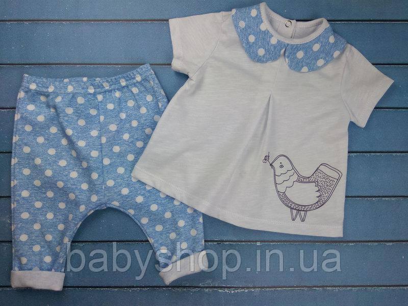 """Летний костюм на девочку """"Bird"""". Размер 20 (62см), 22 (68см), 24 (74см), 26 (80см)"""