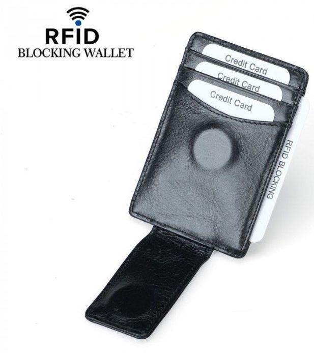 4fba8b4ddc4d Кожаная Кредитница-зажим TIDING BAG YP-203, Черный — в Категории ...