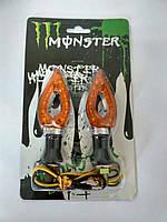 Повороты светодиодные (пара) стреловидные,серебряные, желтое стекло, мод. 4  №234076 Monster Energy