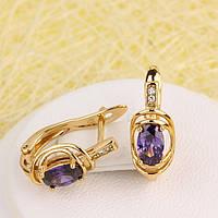 008-5100 - Позолочені сережки з фіолетовими і прозорими фіанітами