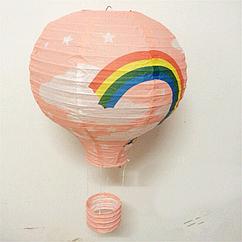 """Бумажный декор для праздника """"Воздушный шар"""" персиковый + радуга"""