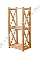 Деревянный стеллаж ШАРМ из массива дуба. 880*400*290мм. 3 полки