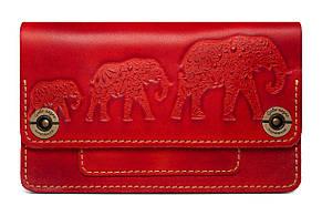 """Кошелек-клатч женский кожаный большой """"Fellini Three Elephants"""". Цвет красный"""