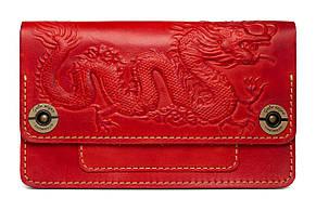 """Кошелек-клатч женский кожаный на кнопках с художественным тиснением """"Fellini Dragon"""". Цвет красный"""