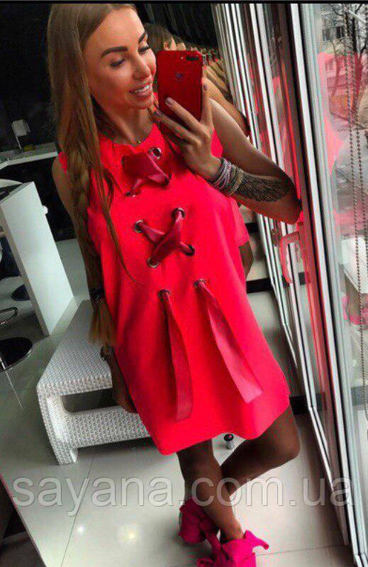 2db23862688c Женское платье с люверсами и лентами, в расцветках. ОЛ-12-0518, цена 420  грн., купить ...