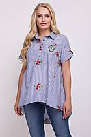 Рубашка большого размера Ангелина вышивка полоска, (2 цв), блуза для офиса, сорочка жіноча великого розміру