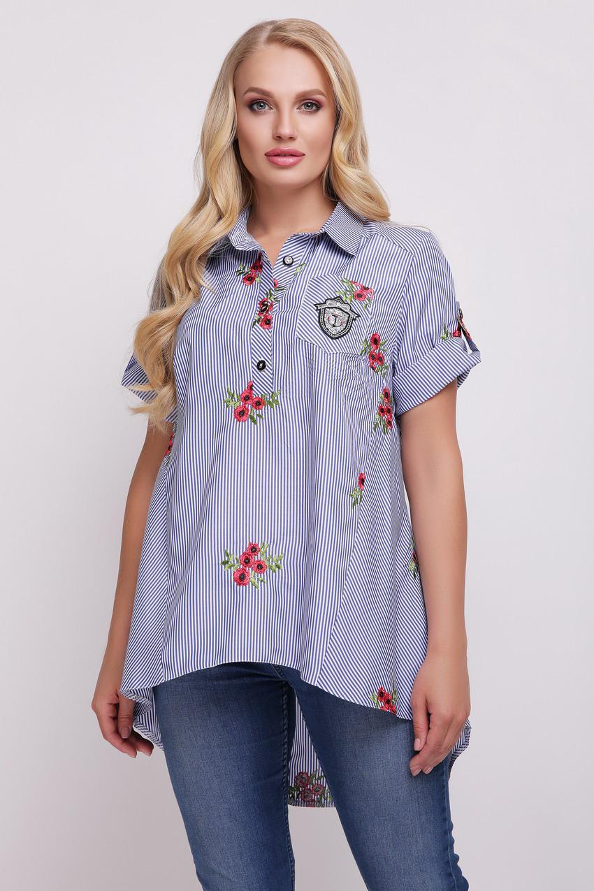 3f23d7c9ef8 Рубашка большого размера Ангелина вышивка полоска
