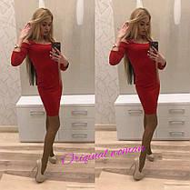 Платье силуэтное до колена с длинным рукавом дайвинг, фото 3