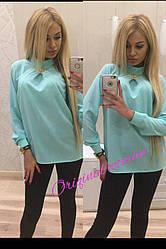 Блуза свободная с украшением ткань креп-шифон
