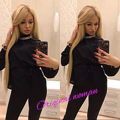 Блуза  ткань креп-шифон с украшением и пояском