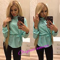 Блуза  ткань креп-шифон с украшением и пояском, фото 3