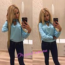 Блуза ткань лайкра-спорт с воротником на пуговице, фото 3