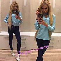 Блуза ткань лайкра-спорт с воротником на пуговице, фото 2