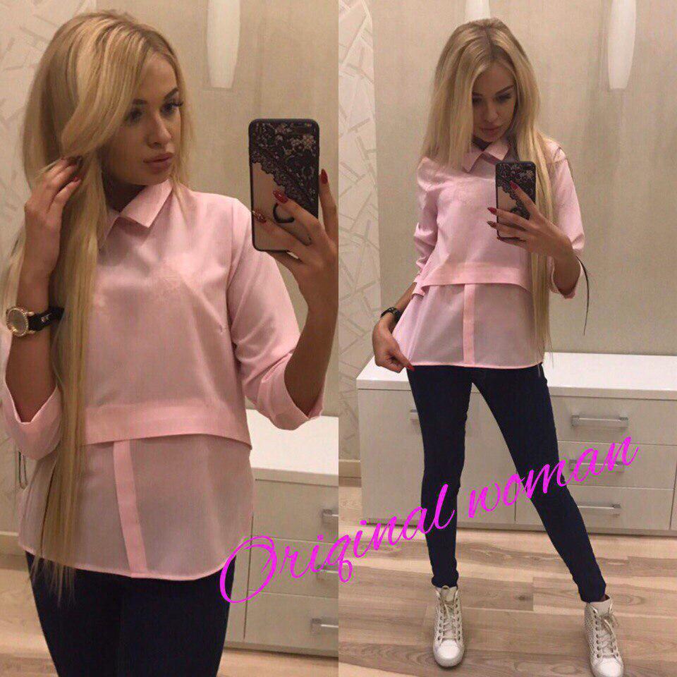 Блуза с воротником ткань креп шифон