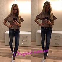 Блуза с воланом и открытыми плечами ткань бенгалин, фото 3