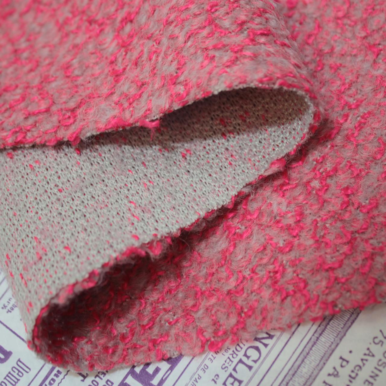 Пальтовая ткань букле меланжевая коралловая