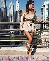 Комбинезоншелковый юбка-шорты плечи открытые, фото 2