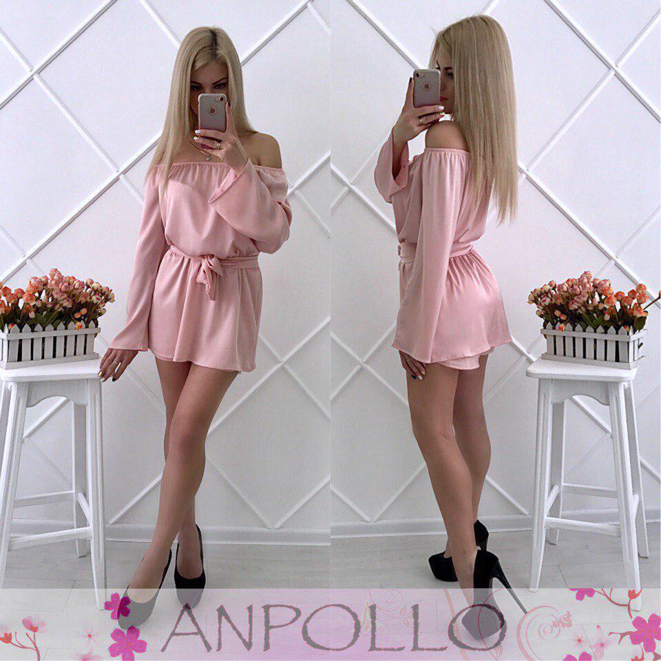 Комбинезоншелковый юбка-шорты плечи открытые