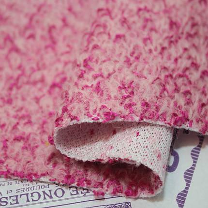 Пальтовая ткань букле меланжевая малиновая, фото 2