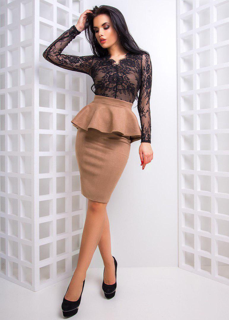 Костюм юбка с баской и топ французское кружево