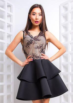 Платье коктейльное с двойным воланом из неопрена и кружева, фото 2