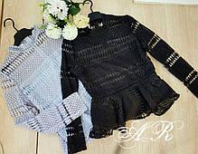 Блуза с набивным кружевом и баской, фото 2