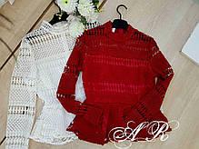 Блуза с набивным кружевом и баской, фото 3