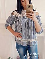 Блуза свободная в мелкую клетку с набивным  кружевом , фото 3