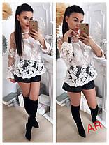 Блуза сетка расшитая кружевом люкс, фото 2