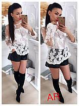 Блуза сетка расшитая кружевом люкс, фото 3