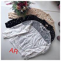 Блуза мультишифон и пайетка рукав на резинке, фото 2