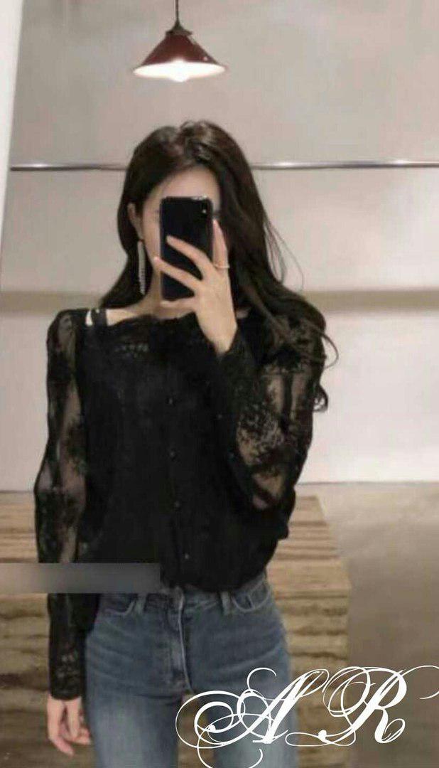 Блуза органза с вышивкой в комплекте топ