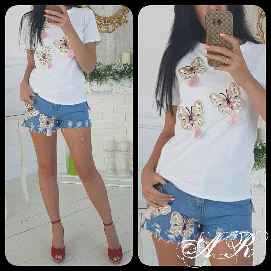 Костюм шорты и футболка с нашивками бабочками