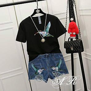 Костюм шорты и футболка с накаткой колибри, фото 2