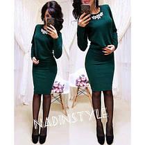 Костюм теплый ангора юбка и кофта с украшением, фото 3