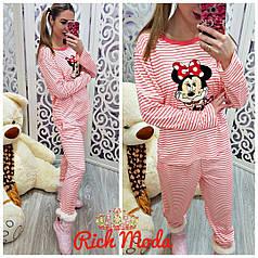 Пижамный домашний костюм коттон с аппликацией