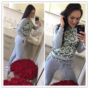 Костюм спортивный штаны с карманами кофта с принтом, фото 2